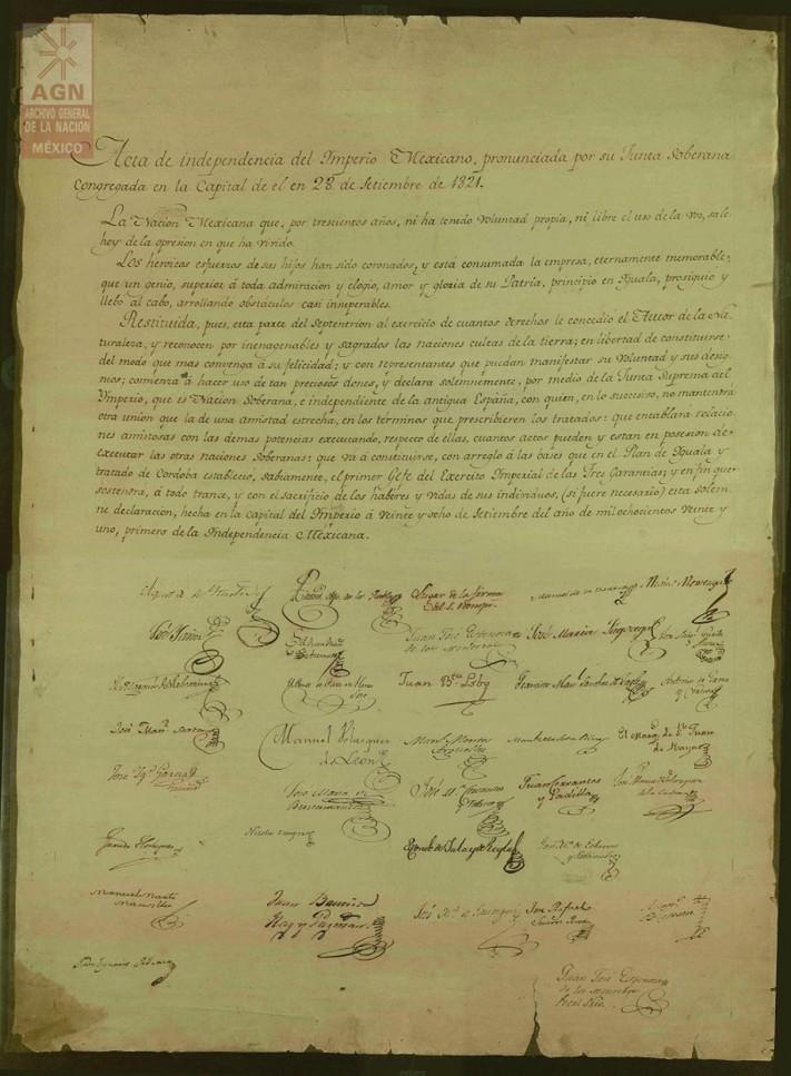 Acta de Independencia © Cortesía Archivo General de la Nación