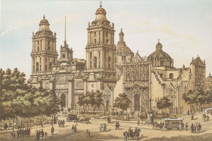 Catedral © Álbum Mexicano Colección de paisajes, monumentos, costumbres y ciudades principales de la República.