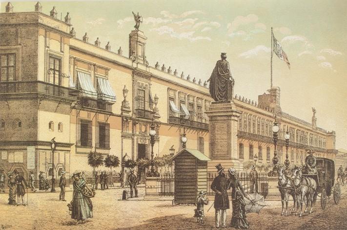 Palacio Nacional © Álbum Mexicano Colección de paisajes, monumentos, costumbres y ciudades principales de la República.