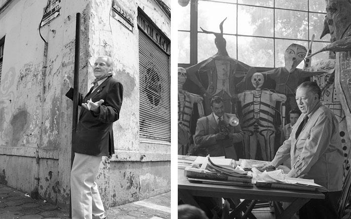 """Cobook / Diego Rivera entre sus """"Judas"""" en su estudio en San Ángel 1956"""