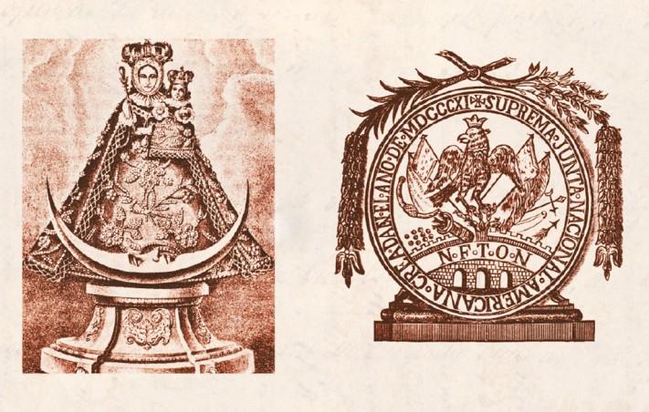 Virgen de los Remedios y Sello que usaron los caudillos de la independencia