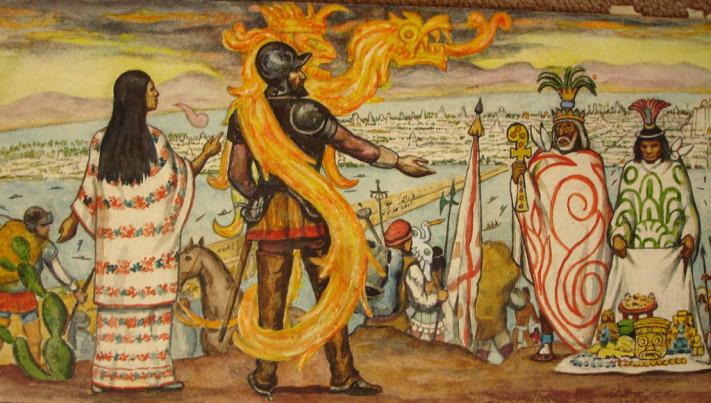 Malinche con Cortés
