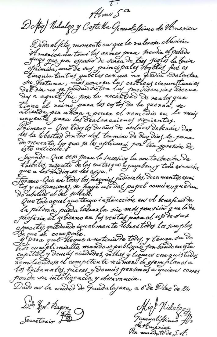 Acta de abolición de la esclavitud