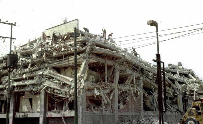 File photo shows a building collapse after a earthquake