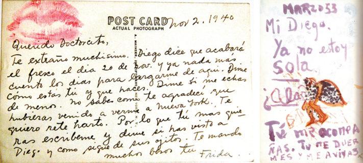 """MEX09 - CIUDAD DE MEXICO (MEXICO), 24/08/05.- Una carta fechada el 2 de noviembre de 1940 y sellada con los labios de Frida Kahlo envÌada a su mÈdico, es una de la colecciÛn de cartas dirigidas a su mÈdico y obras que muestran los sufrimientos de la pintora mexicana Frida Kahlo (1907-1954) que se exhibir·n a partir de maÒana jueves 25 de agosto en el museo que lleva su nombre en la capital mexicana bajo el tÌtulo """"Leo Eloesser. La medicina y el dolor en la obra de Frida Kahlo"""". En el museo popularmente conocido como """"La Casa Azul"""", donde naciÛ y viviÛ la pintora Kahlo, se podr· apreciar el universo creativo de la pintora, plagado de dolor y de amor a la vida. EFE/Mario Guzm·n"""